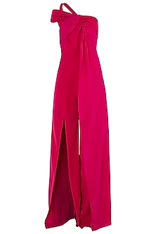 Fuschia Drape Bias Twist Jumpsuit by LOLA by Suman B