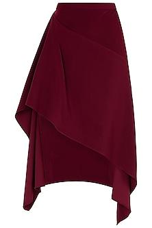 Maroon Asymmetrical Drape Skirt by LOLA by Suman B