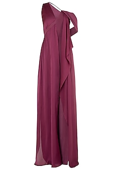 Dark Onion Twist Drape Jumpsuit by LOLA by Suman B