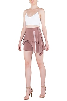 Ash Lavender Bias Panel Drape Shorts by LOLA by Suman B