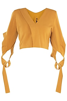 Mustard Yellow Cross Loop Tie Crop Top by LOLA by Suman B