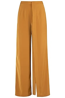 Mustard Yellow Lapel Slit Trousers