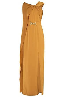 Mustard Yellow Drape Maxi Dress
