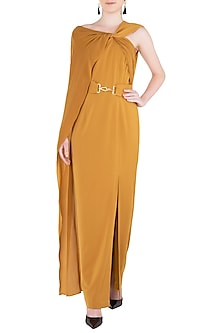 Mustard Yellow Drape Maxi Dress by LOLA by Suman B