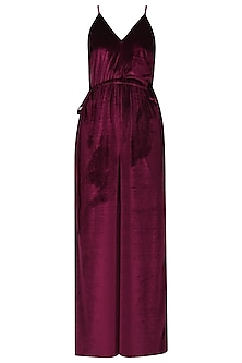 Maroon Straps and Cinched Jumpsuit
