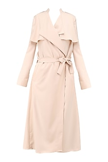 Light Pink Wrap Tie Up Trench Coat