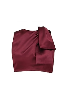 Maroon Twist Detail Crop Top