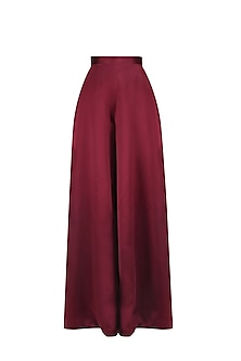 Maroon Wide Legged High Waisted Pants