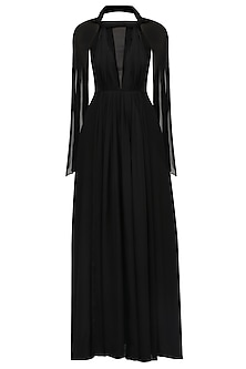 Black Drape Detail Twisted Gown