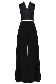 Black and White Crossover Bodice Jumpsuit