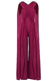 Magenta Pleated Drape Panel Jumpsuit by LOLA by Suman B