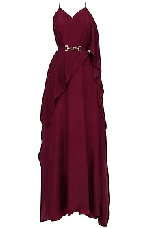 Maroon Ruffled Diagonal Panel Maxi Strappy Dress