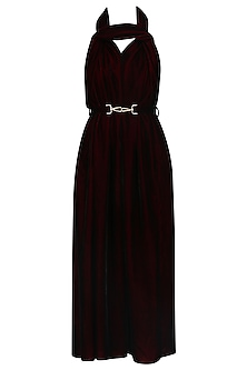 Maroon Twisted Detail Knee Length Dress by LOLA by Suman B
