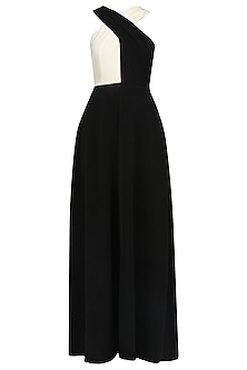 Black and White Crossneck Detail Gown