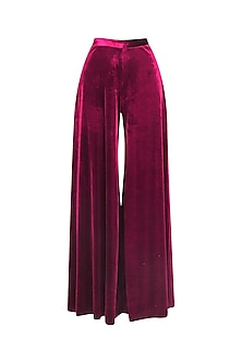 Maroon Velvet Pleated Trouser Pants