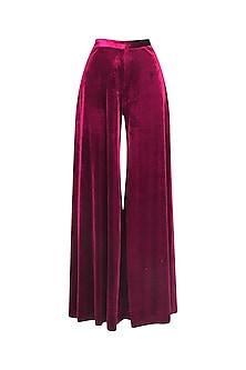 Maroon Velvet Pleated Trouser Pants
