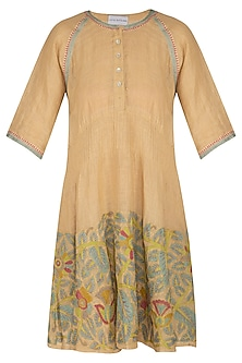 Beige Embroidered Hand-Woven Linen Tunic by Latha Puttanna