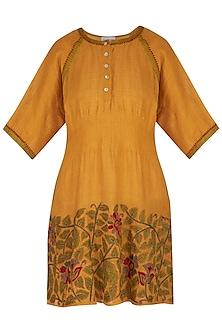 Burnt Orange Embroidered Hand-Woven Linen Tunic by Latha Puttanna