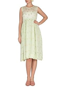 Sea Green Jacquard Woven Rose Dress by Latha Puttanna