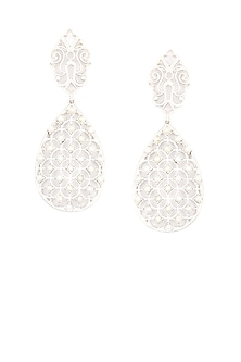 Silver finish seed pearls jali pattern earrings by Lai