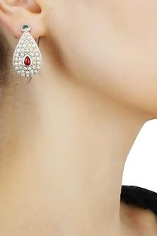 Silver finish set seed pearls open hoop earrings