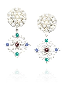 Silver finish seed pearls and encrusted multi color stone drop earrings by Lai