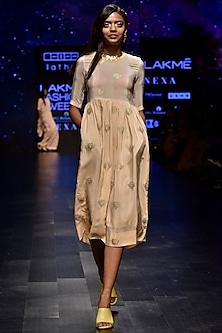 Blush Pink Motif Dress by Latha Puttanna