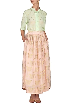 Blush Pink Printed Skirt by Latha Puttanna