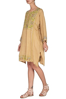 Beige Embroidered Tunic by Latha Puttanna