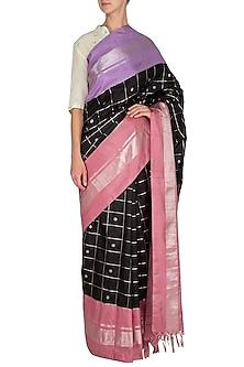 Black Checks Printed Silk Saree Set by Latha Puttanna