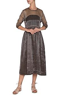 Chocolate Brown Striped Dress by Latha Puttanna