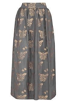Mustard Printed Grey Skirt by Latha Puttanna