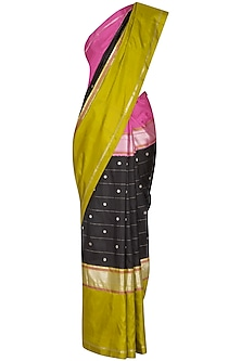 Black Zari Bordered Saree Set by Latha Puttanna