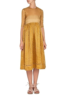 Mustard Striped Dress by Latha Puttanna