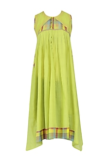 Lemon Green Sleeveless Checks Tunic Dress
