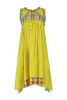 Yellow Sleeveless Checks Tunic Dress
