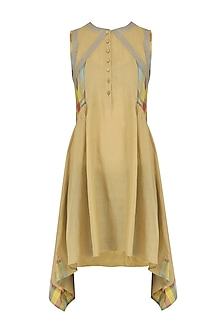 Nude Sleeveless Checks Tunic Dress