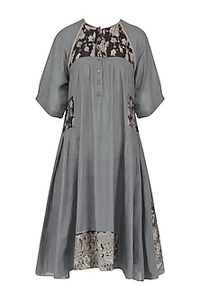 Grey Pleated Kalamkari Tunic Dress