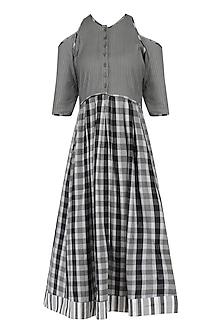 Grey Cold Shoulder Checks Kalamkari Dress
