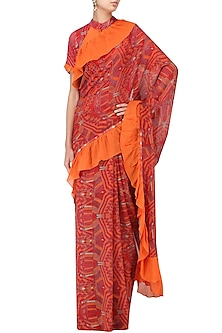 Orange and Red Printed Saree with Blouse by Latha Puttanna