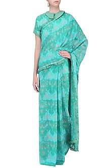 Blue Printed Saree with Blouse by Latha Puttanna