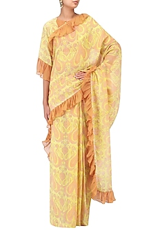 Yellow and Brown Printed Saree with Blouse by Latha Puttanna