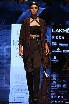 Black Embellished Striped Jacket by Label Ritu Kumar