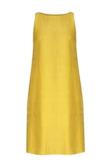 Yellow Pleated & Pintucked Dress by Little Things Studio