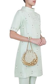 Gold & Ivory Embroidered Potli Bag