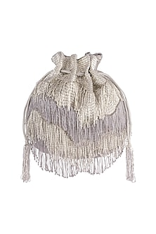 Silver Embroidered Tasseled Potli by Lovetobag