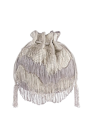 Silver Embroidered Tasseled Potli by Lovetobag