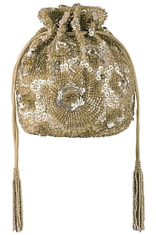 Gold embroidered glass bead pouch by Lovetobag