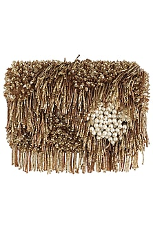 Gold embroidered tassel clutch by Lovetobag