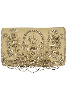 Gold embroidered pearl drop clutch by Lovetobag